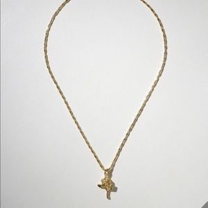 GOLD LITTLE ROSE CHARM NECKLACE